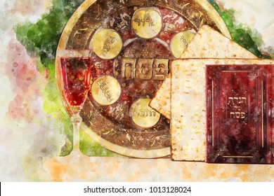 watercolor style and abstract image of Pesah celebration concept (jewish Passover holiday). Traditional book with text in hebrew: Passover Haggadah (Passover Tale)