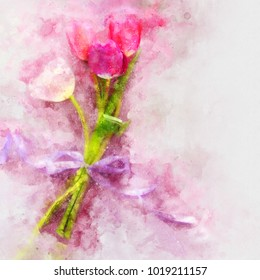 watercolor style and abstract image of vintage pastel tulips