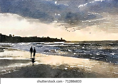 Watercolor style illustration of couple strolling on stormy day at beach..