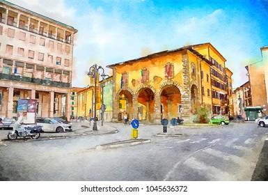 watercolor style, Italian life in Livorno