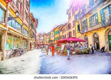 watercolor style, Italian life in Pisa