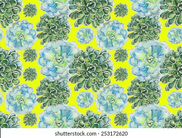 Watercolor succulents pattern on yellow background