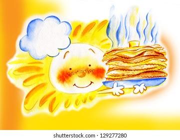 Watercolor sun and pancakes