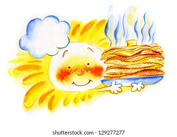 Watercolor sun and pancakes-1