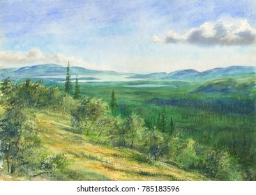 Watercolor: Sunny day in the Khibiny mountains