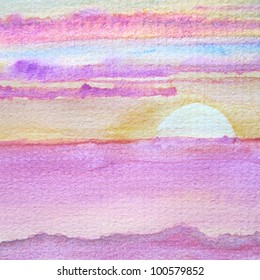 Watercolor Sunset 1