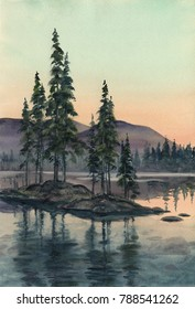 Watercolor: Sunset at the Umbozero Lake