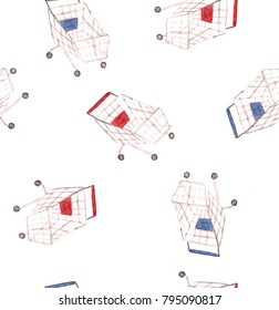 Watercolor supermarket seamless pattern