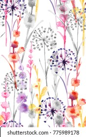 Watercolor sweet colorful color wild floral pattern, delicate flower wallpaper, wildflowers color flower,pink,tansy, pansies.Wallpaper on a white background
