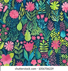 Watercolor texture with flowers and plants. Floral ornament. Original flowers pattern.