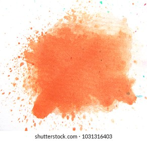 Watercolor texture splash isolated on white background, watercolor effects, orange red splash