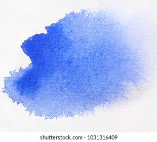 Watercolor texture splash isolated on white background, watercolor effects, blue splash,