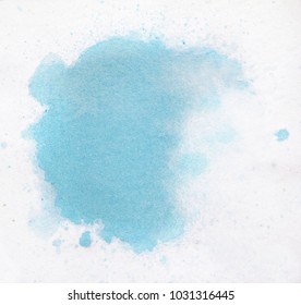 Watercolor texture splash isolated on white background, watercolor effects, blue splash
