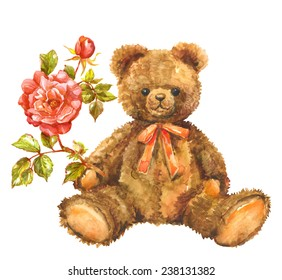 Watercolor  toy  Teddy bear with red rose. Valentines background.