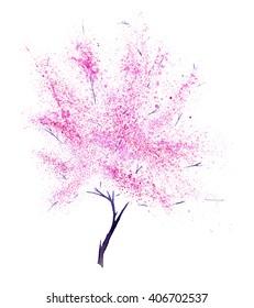 Watercolor tree. Hand drawn watercolor painting on white background. Hand drawn watercolor painting on white background. Pink blooming cherry tree. Spring blossoming tree. Sakura tree isolated.