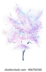 Watercolor tree. Hand drawn watercolor painting on white background. Hand drawn watercolor painting on white background. Blooming lilac tree. Spring blossoming tree. Lilac tree isolated.