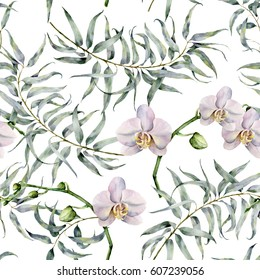 Watercolor tropic pattern with eucalyptus and white orchids. Hand painted exotic ornament with branches with leaves isolated on white background. Natural print for design, fabric