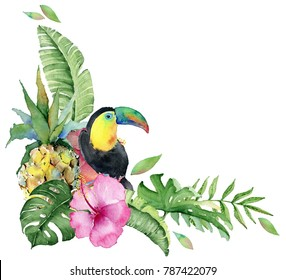 Watercolor tropical illustration with pineapples, toucan birds palm leaves and flowers.