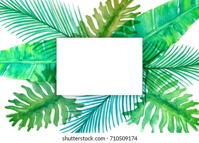 Watercolor tropical leaves. Card with empty text box.