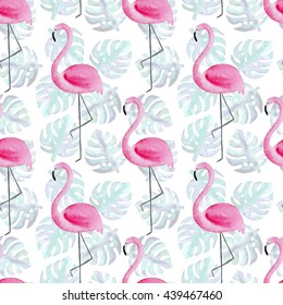 e81dc2d9edfb2 Watercolor tropical seamless pattern with pink flamingos on monstera leaves  background. Exotic Hawaii art background
