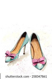 Watercolor turquoise blue shoes with purple polka dot bow ties painting