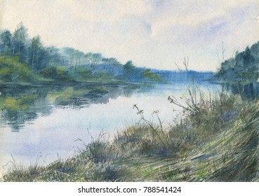 Watercolor: Tvertsa river in the spring