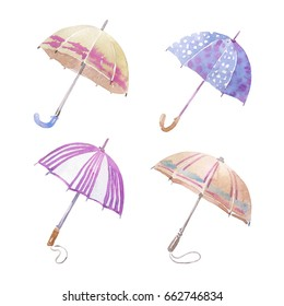 Watercolor umbrellas set. Isolated on the white background. Hand-painted colorful elements.