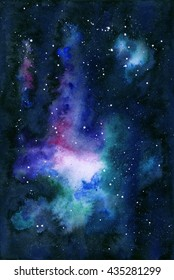 Watercolor universe filled with stars, nebula and galaxy. Watercolor abstract background of universe bodies