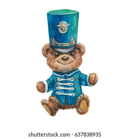 Watercolor vintage bear teddy in military uniformon on white background, military parade, children's party, military holiday, victory day, boys, soldiers, army, salute, musician, hussar, military band