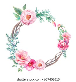 Watercolor vintage eucalyptus and tree branches wreath with flowers bouquet. Hand drawn floral decorative element isolated on white background. Artistic branches, peonies, tulip, rose, bud.