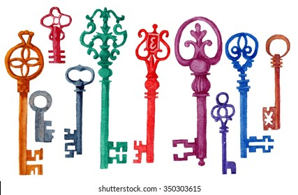 Watercolor vintage keys Set. Isolated Set with old hand drawn keys. Retro keys set. Antiques key for your design. Hand painted illustration isolated on white background