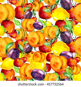 Watercolor, vintage, seamless pattern - fruit. Apple, pear, lemon, citrus, peach, apricot, plum