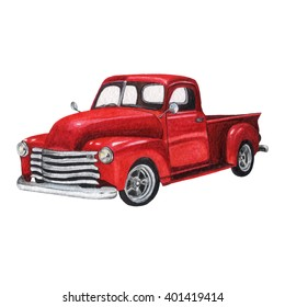 Watercolor Vintage Toy Model Truck, isolated on white background. Postcard, poster & textile design. Hand drawn illustration.