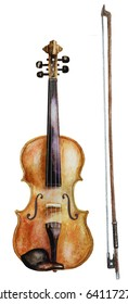 watercolor violin and bow isolated on white. watercolor drawing
