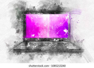 Watercolor wallpaper laptop. A bright splash of flowers isolated on white.