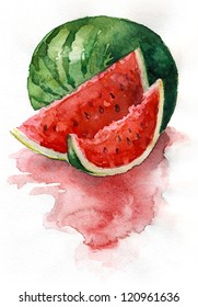 Watercolor watermelon. Watercolor painting. Still life. Sliced watermelon.
