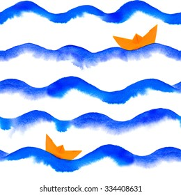 watercolor waves with paper boat repeatable seamless art background