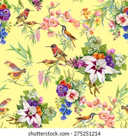 Watercolor Wild exotic birds on flowers seamless pattern on yellow background
