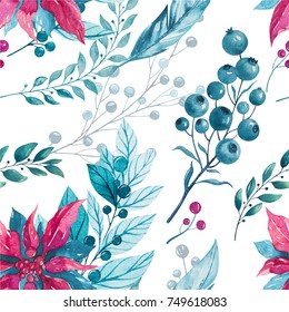 Watercolor winter christmas seamless pattern.