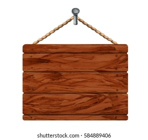 Watercolor wooden board. Rope, nail. Close up isolated on white background