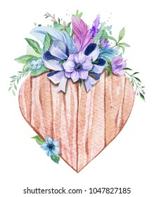 Watercolor wooden heart. Decorated with flowers plant. Rustic illustration. Perfect for blogs, invitation.