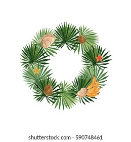 Watercolor wreath with coconut, tropic palm tree, bananas, seashells, starfish