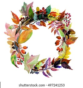 Watercolor wreath of fall leaves and berries.