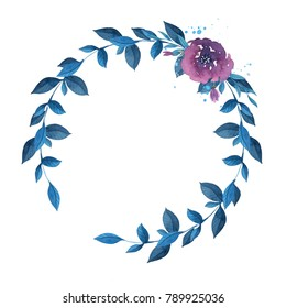 Watercolor wreath with flowers, leaves and branches. Hand drawn illustration.