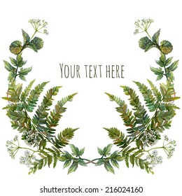 Watercolor wreath or garland with inscription. Forest growth on white background. Green fern leaves, wild aegopodium white flowers. Can be used as invitation or greeting card, print