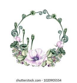 Watercolor wreath of purple poppies. Isolated on white background. For the design of invitations, postcards.