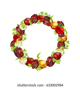 Watercolor wreath with tomatoes, peppers, parsley and onion. isolated on white background. Hand painting on paper
