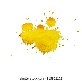 Watercolor, yellow blot