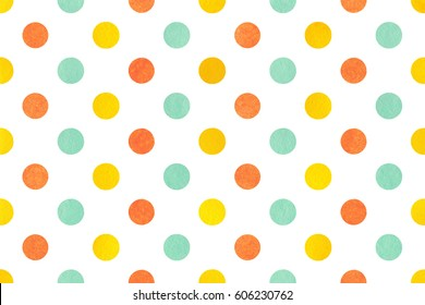 Watercolor yellow, seafoam blue and carrot orange polka dot background. Pattern with dots for scrapbooks, wedding, party or baby shower invitations.