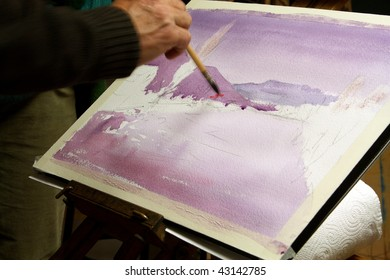 Watercolorist painting